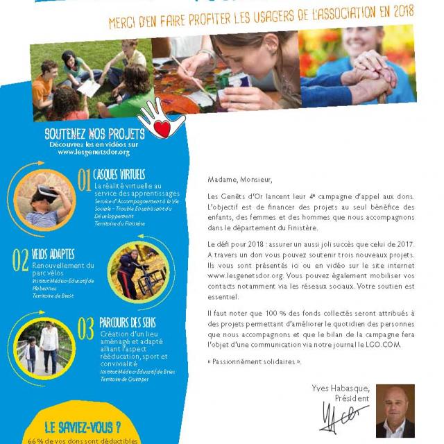 Campagne d'appel aux dons 2018